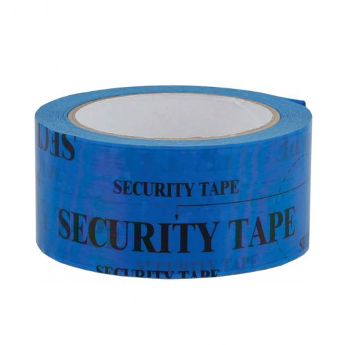 Sigilltejp blå text security tape